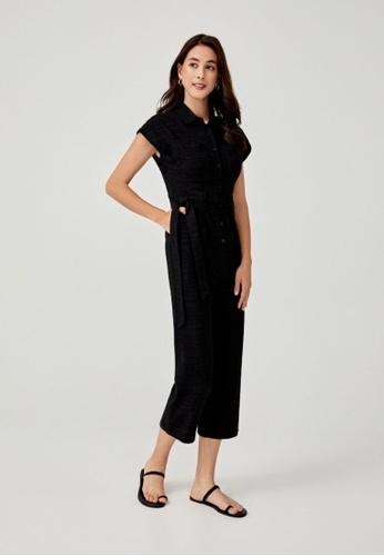 Love, Bonito black Fidelia Jacquard Wide Leg Jumpsuit 97748AAB5EA071GS_1