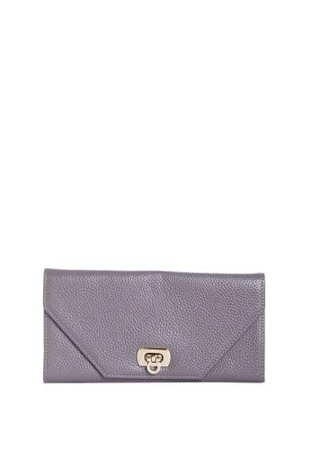 Dazz grey Calf Leather Envelope Clasp Wallet - Grey DA408AC07ALGMY_1