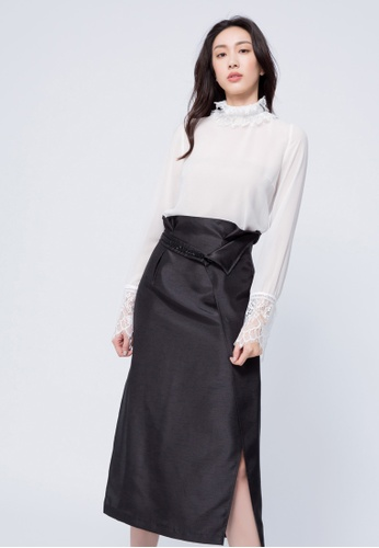 iROO black Paper Bag Midi Skirt D745FAAE4205A0GS_1