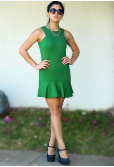 Emerald Flounce Dress