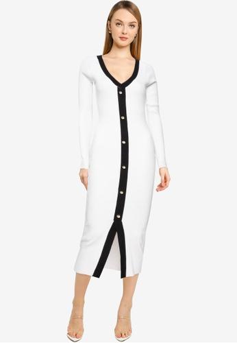 MISSGUIDED white Button Through Knitted Cardi Dress 153EAAAA76B548GS_1
