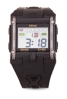 Box Sport Watch Unisex Silver Resin Strap Watch XJ-852-Ash
