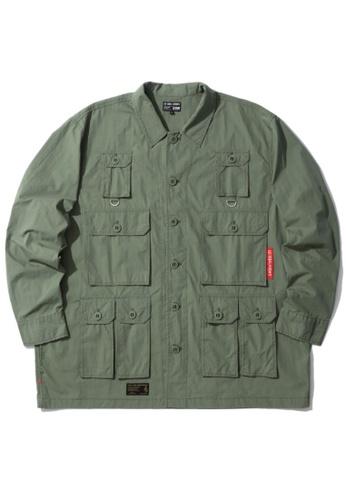 izzue green Multi-pocket shirt 85BB8AABD67A90GS_1