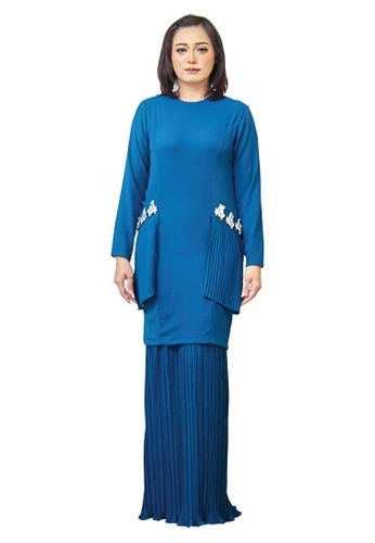 Farraly Grace Kurung from FARRALY in Blue