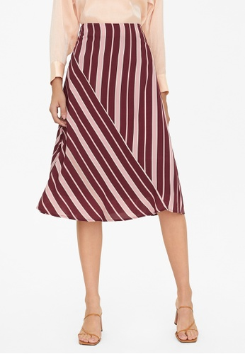 Pomelo red Striped Fit And Flare Skirt - Red EDC8EAA50A258EGS_1