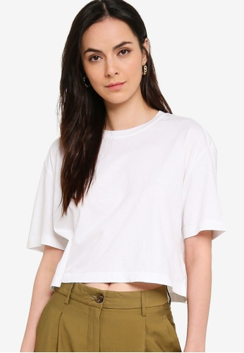 French Connection white Sahana Jersey Cropped Tee B3A90AAAD00092GS_1
