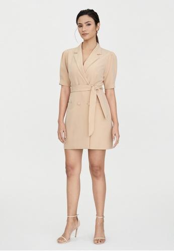 Pomelo beige Double Breasted Tie Waist Dress - Beige 6FEFEAA12A9F44GS_1