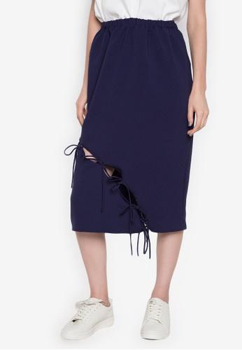 NEW ESSENTIALS navy Ivar Aseron Draw String Skirt NE239AA0JD2TPH_1