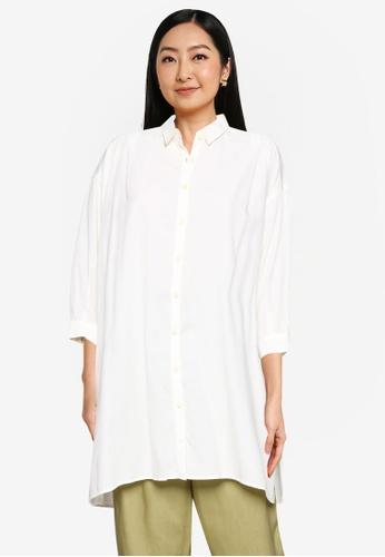 GLOBAL WORK white Woven Shirt 56FD9AA8E3DBDEGS_1
