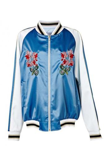 VIK blue 2-in-1  Embroidery Bomber Jacket VI189AA18GIJSG_1