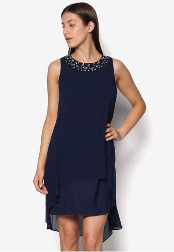 Petite 閃飾領層次連身裙、 服飾、 服飾WallisPetite閃飾領層次連身裙最新折價