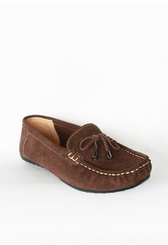 Suede Ribbon Driving Shoes