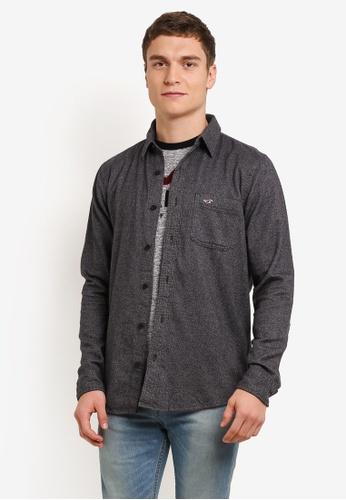 Hollister grey Long Sleeve Flannel Shirt HO422AA0SBOAMY_1