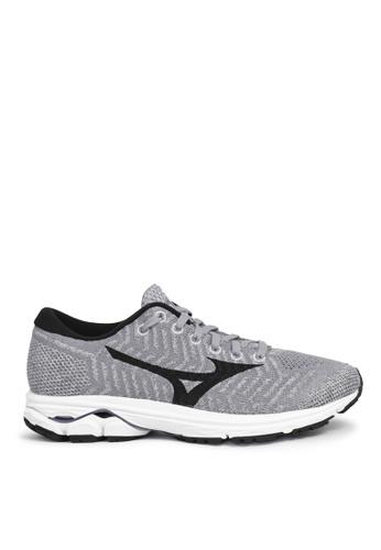Mizuno grey Wave Knit R2 Running Shoes 8A3BBSH86AE46DGS_1