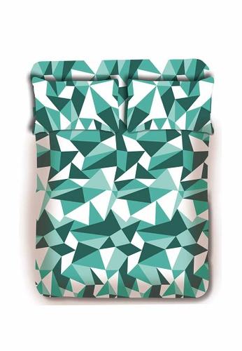 Primeo green Premium 220TC Twin Bed Sheet Set, Aqua Fitted Sheet, Pillow Case Set of 3 5C838HL0F3E3ECGS_1