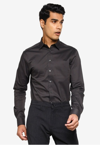 !Solid black Long Sleeve Shirt C31C1AAC444A7EGS_1