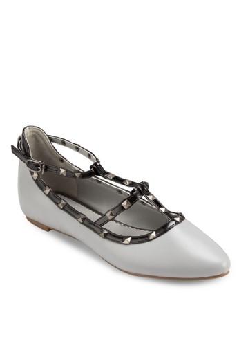 鉚釘尖頭平底鞋, 女鞋, 芭蕾平底esprit 衣服鞋