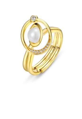 SUNSET gold Premium 925 Sliver Pearl Ring 7E15DAC8EA8609GS_1