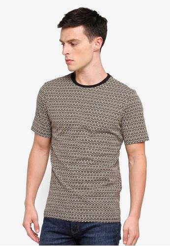 River Island 褐色 品牌刺繡T恤 F1442AAAD54BF9GS_1