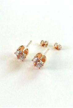 14k Rose Gold Bright CZ Stud Earrings