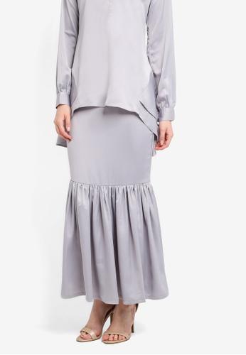 Nuraini grey Monna Skirt NU222AA0SS40MY_1