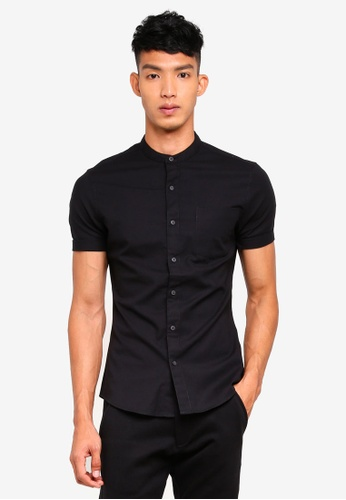 Topman black Black Muscle Short Sleeve Oxford Shirt B605EAA651D39AGS_1