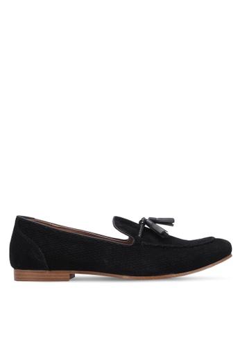 TOPMAN black Black Faux Suede Tassel Loafers TO413SH0S7YRMY_1