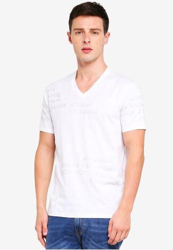 Armani Exchange white Foil Logo All Over Vneck T-Shirt C64E6AA627E733GS 1 6014fd91d7