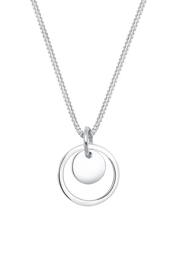 Elli Germany silver Elli Germany Circle Geo Trend 925 Sterling Silver Necklace EL474AC59OKUMY_1