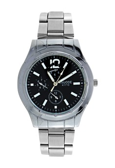 KNUODE Classic Unisex Black/Silver Stainless Steel Strap Watch K1710