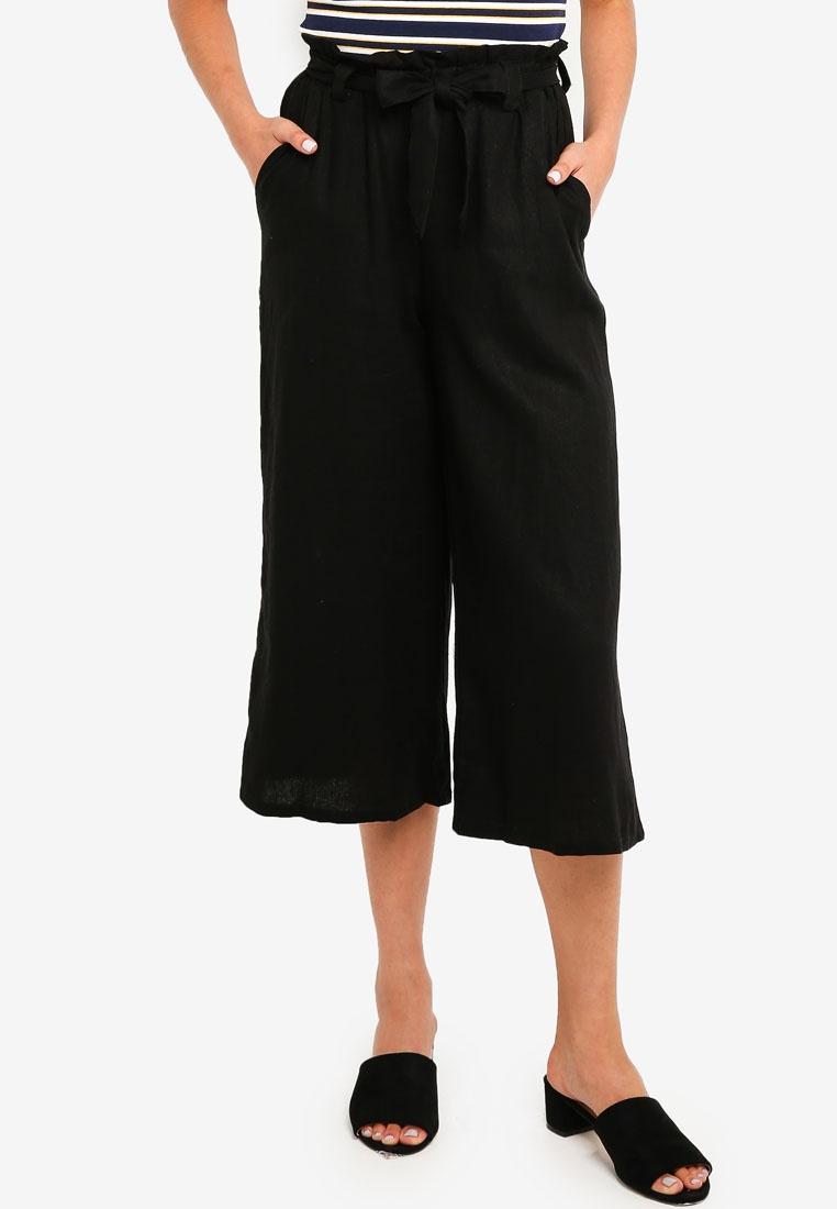 Black On Cotton High Culottes Waist RnYCHqS