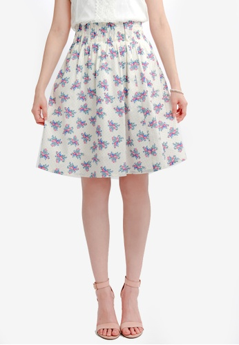 Yoco white Floral Skirt with Pleated Waistband EB57EAA7AD8E5FGS_1