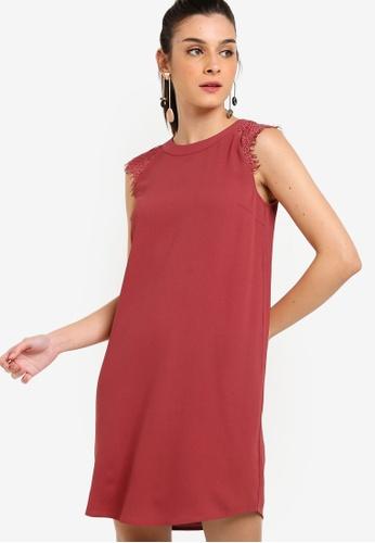 ZALORA 粉紅色 無袖蕾絲拼接短洋裝 7E71AAA158EA4DGS_1