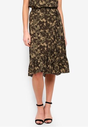 Vero Moda black and green Leo Wrap Skirt A7744AAD900955GS_1