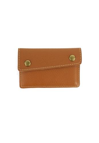 Kawamura brown Lotuff Leather Card Wallet - Brown KA871AC86GAVHK_1
