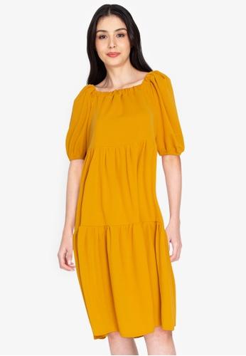 DEITY yellow Tiered Puff Sleeve Midi Dress D3C1CAAC00A8D5GS_1