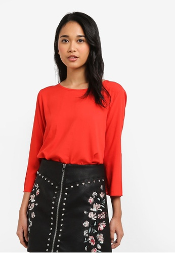 ONLY red Nova Solid Vis 3/4 Sleeve Woven Top 45FA2AA5A7426CGS_1