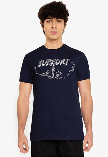 KOTON blue Printed Short Sleeves T-Shirt F1BA7AAA065386GS_1