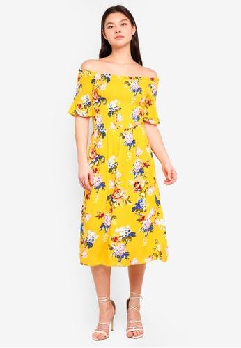 Dorothy Perkins orange Ochre Floral Bardot Dress F75F1AAB8FA9C3GS_1