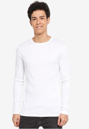 River Island white Long Sleeved White T-shirt 62E69AADFA82D6GS_1