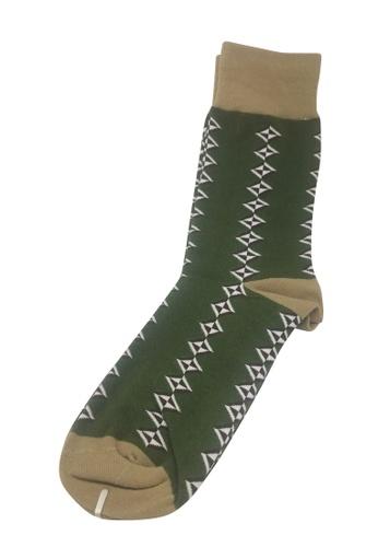 Splice Cufflinks Allotropes Series Green and Brown Socks SP744AA32PEPSG_1