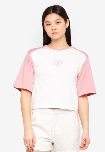 Something Borrowed white Contrast Sleeves Raglan Tee With Logo 9E2D4AA4E77C14GS_1