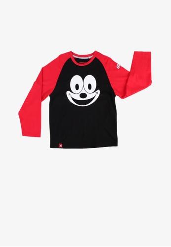 SODA black Felix The Cat Raglan Long Sleeve Boy T-Shirt - BLACK 77868KA94453FFGS_1