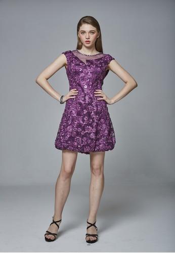 歐系盤花esprit分店蕾絲領口不對稱簍空花苞洋裝, 服飾, 派對洋裝