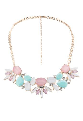 粉色zalora 泳衣系閃石珠寶項鍊, 飾品配件, 飾品配件