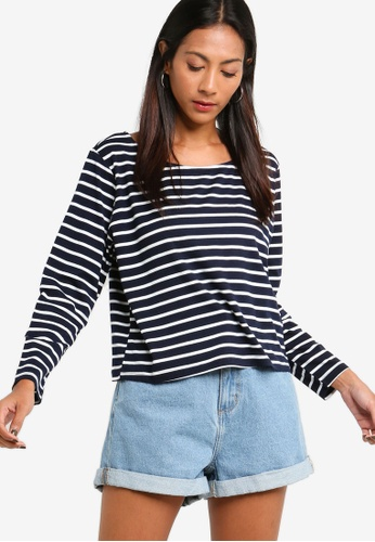ZALORA BASICS navy Basic Boat Neck Long Sleeves Tee C6BB6AAD7F3E07GS_1