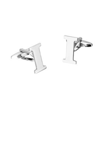 Glamorousky silver Simple Personality English Alphabet I Cufflinks 47322AC4CE4447GS_1