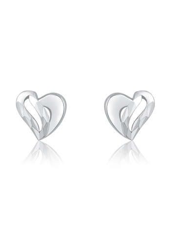 MaBelle silver 14K/585 White Color Gold Heart Earrings FC45CAC5BE89D7GS_1