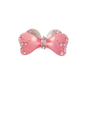 Glamorousky pink Fashion Simple Pink Ribbon Hair Slide with Cubic Zirconia 917ACAC4F50F22GS_1