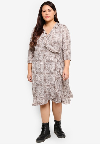 c88c28e0589ee Shop Only CARMAKOMA Plus Size Nut 3/4 Short Wrap Dress Online on ZALORA  Philippines